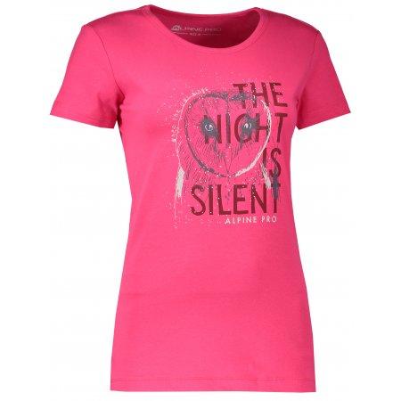 Dámské tričko s krátkým rukávem ALPINE PRO UNEGA 4 LTSL270 TMAVĚ RŮŽOVÁ S POTISKEM