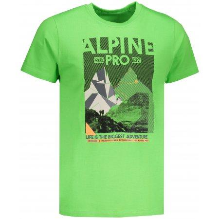 Pánské tričko s krátkým rukávem ALPINE PRO ABIC MTSN355 TMAVĚ ZELENÁ