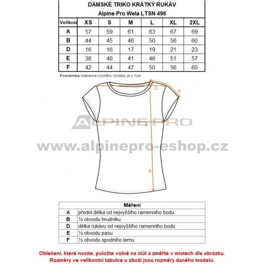 Dámské triko s krátkým rukávem ALPINE PRO WELA LTSN496 ŠEDÁ