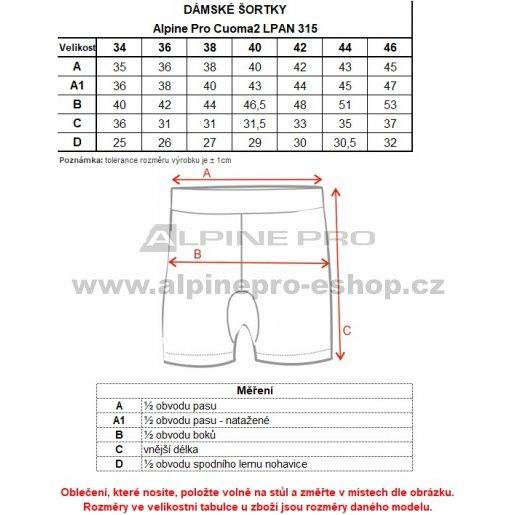 Dámské kraťasy ALPINE PRO CUOMA 2 LPAN315 SVĚTLE MODRÁ