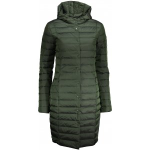 Dámský péřový kabát ALPINE PRO KORA LCTP105 TMAVĚ ZELENÁ